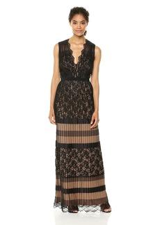 Tadashi Shoji Women's Sleeveless Deep v Gown