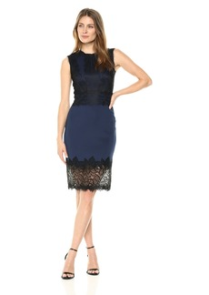 Tadashi Shoji Women's Slvless Neoprene and Lace Dress