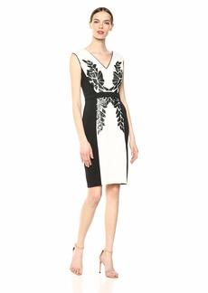 Tadashi Shoji Women's SLVLESS Neoprene Dress W/Sequin DTL  L