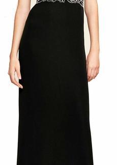 Tadashi Shoji Women's SLVS V/N LACE/Crepe Gown