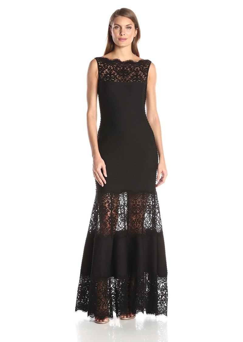 SALE! Tadashi Tadashi Shoji Women\'s Tucked and Lace Detail Gown