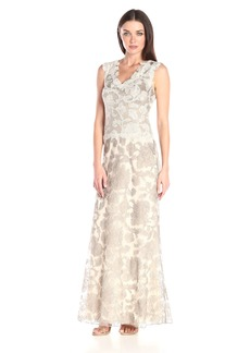 Tadashi Shoji Women's Two-Tone Lace Gown with V-Neck