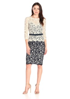 Tadashi Shoji Women's Two-Toned Lace Dress with Three-Quarter Sleeve and Belt