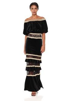 Tadashi Shoji Women's Velvet Off Shoulder Gown