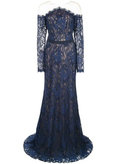 Tadashi tulle-panelled lace gown