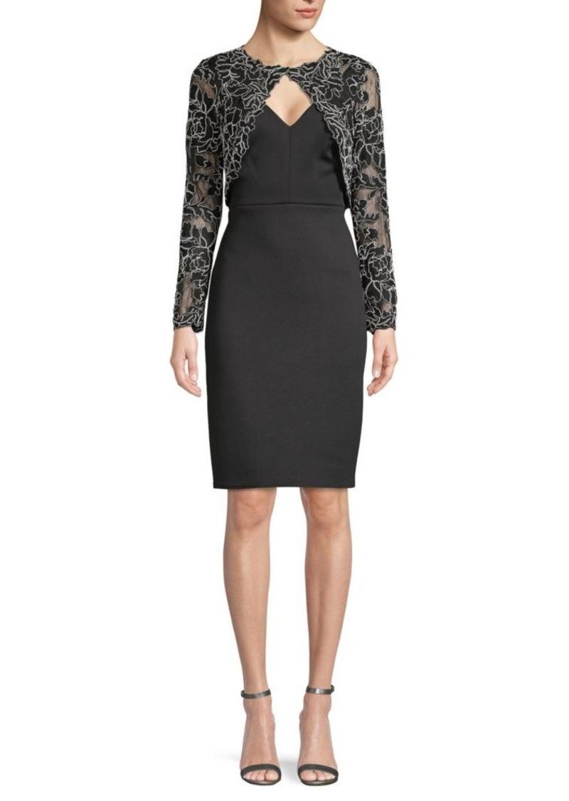 Tadashi V-Neck Dress with Lace Bolero Jacket