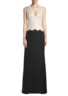 Tadashi V-Neck Lace Crepe Gown