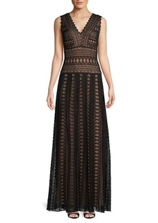 Tadashi V-Neck Lace Gown