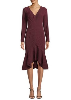 Tadashi V-Neck Pintuck Jersey Dress w/ Ruffle Hem