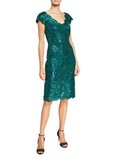Tadashi V-Neck Short-Sleeve Sequin Lace Sheath Dress
