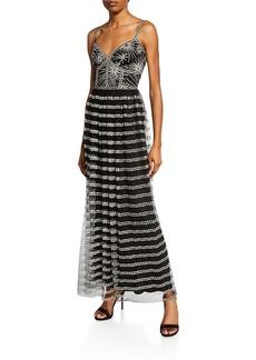 Tadashi V-Neck Sleeveless Corset Lace Gown