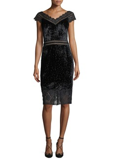 Tadashi V-Neck Velvet Burnout Sheath Cocktail Dress w/ Lace