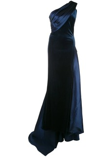 Tadashi velvet and satin one shoulder evening gown