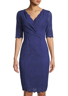 Tahari 1/2-Sleeve Scalloped-Lace Dress