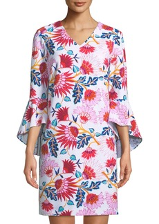Tahari 3/4-Bell-Sleeve Floral-Print Shift Dress