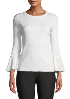 Tahari 3/4-Ruffle Sleeve Ribbed Sweater