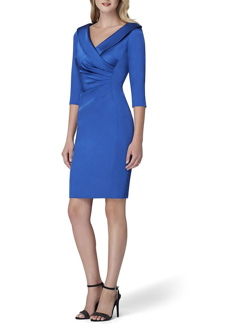 Tahari 3/4-Sleeve Stretch Satin Side-Ruched Cocktail Dress