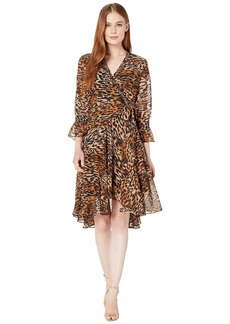 Tahari Animal Printed Chiffon Long Sleeve Dress with Side Tie and Cinched Sleeve Detail