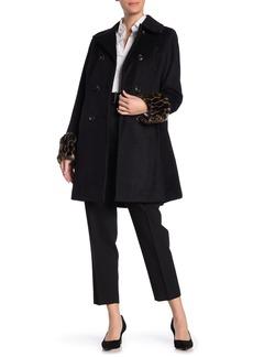 Tahari Aubrey Faux Fur Cuffed Wool Blend Coat