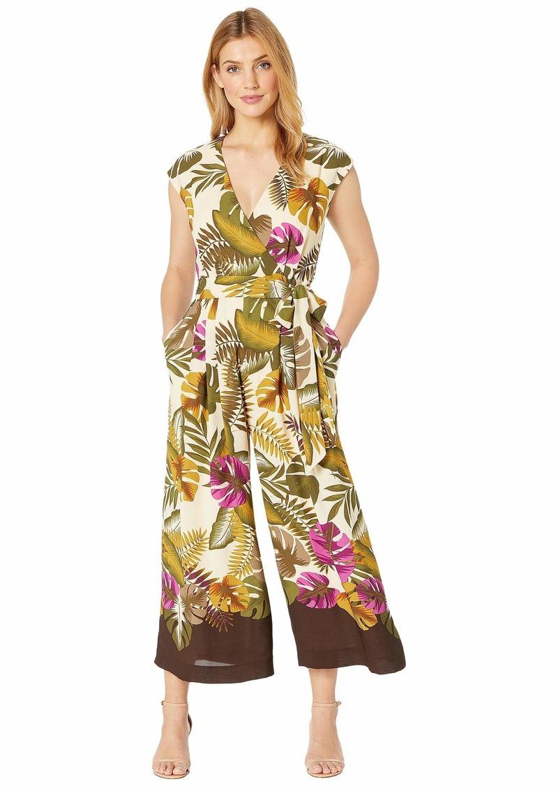 Tahari Banana Leaf Cotton Voile Cropped Jumpsuit