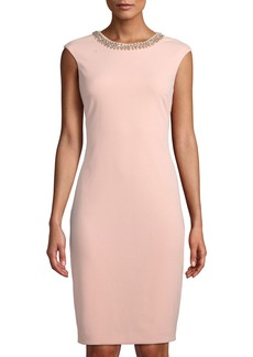 Tahari Beaded-Neck Sheath Dress