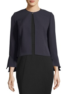 Bell-Sleeve Stretch-Crepe Topper Jacket