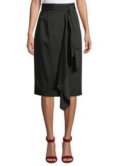 Tahari Belted Draped-Front Skirt