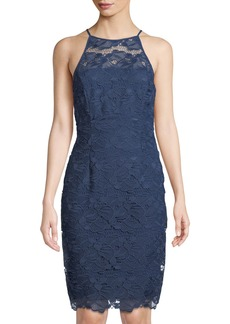 Tahari Benson Floral Lace High-Neck Dress