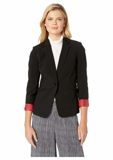 Tahari Bi-Stretch Jacket with Red Roll Cuff Sleeve