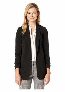 Tahari Bi-Stretch Open Jacket with Ruched Sleeve