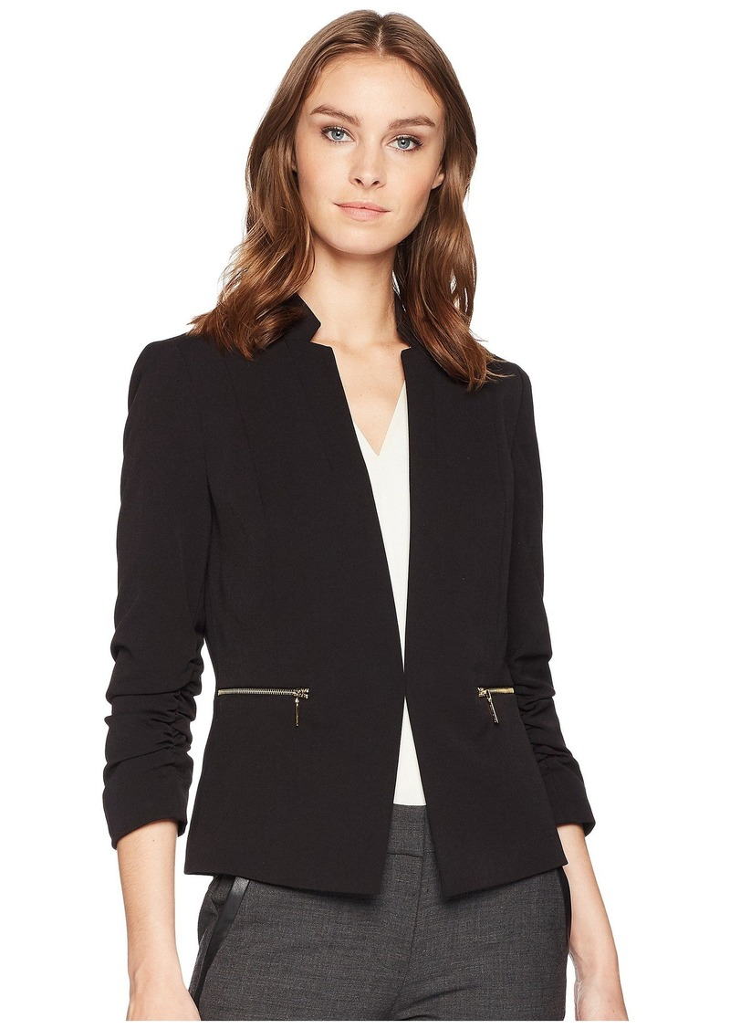 Tahari Bistrech Star Neck Jacket with Rouched Sleeve