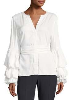 Tahari Blouson-Sleeve Button-Front Blouse