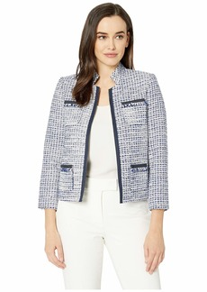 Tahari Boucle Open Jacket with Pockets and Fray