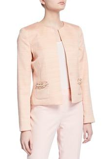 Tahari Boucle Pearl Patch Pocket Jacket