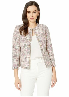 Tahari Boucle Tweed Open Jacket with Gold Button