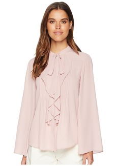 Tahari Bow Blouse with Pleated Front