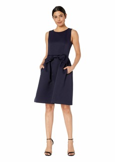 Tahari Bow Front Fit and Flare Textured Faille Dress