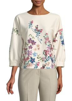 Tahari Brita Floral Bubble-Sleeve Blouse