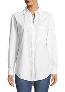 Tahari Button-Down Oversized Cotton Shirt