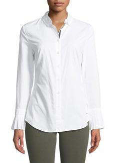 Tahari Button-Down Pleated-Cuff Cotton Shirt