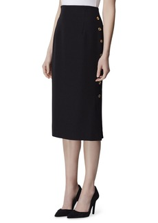 Tahari Button-Trim Crepe Pencil Midi Skirt