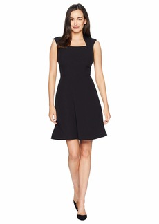 Tahari Cap Sleeve Matte Jersey Dress wih Full Skirt