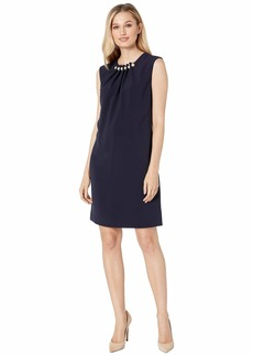 Tahari Cap Sleeve Sheath with Pearls and Gathered Detail