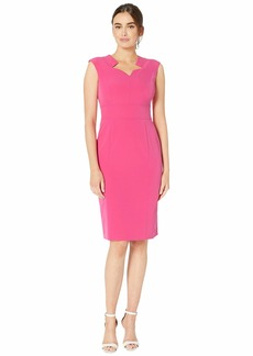 Tahari Cap Sleeve Stretch Crepe Dress with Star Neckline
