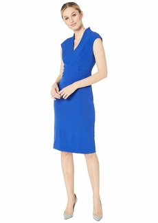 Tahari Cap Sleeve Stretch Crepe Side Shirred Dress