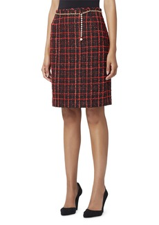 Tahari Chain-Belted Boucle Pencil Skirt