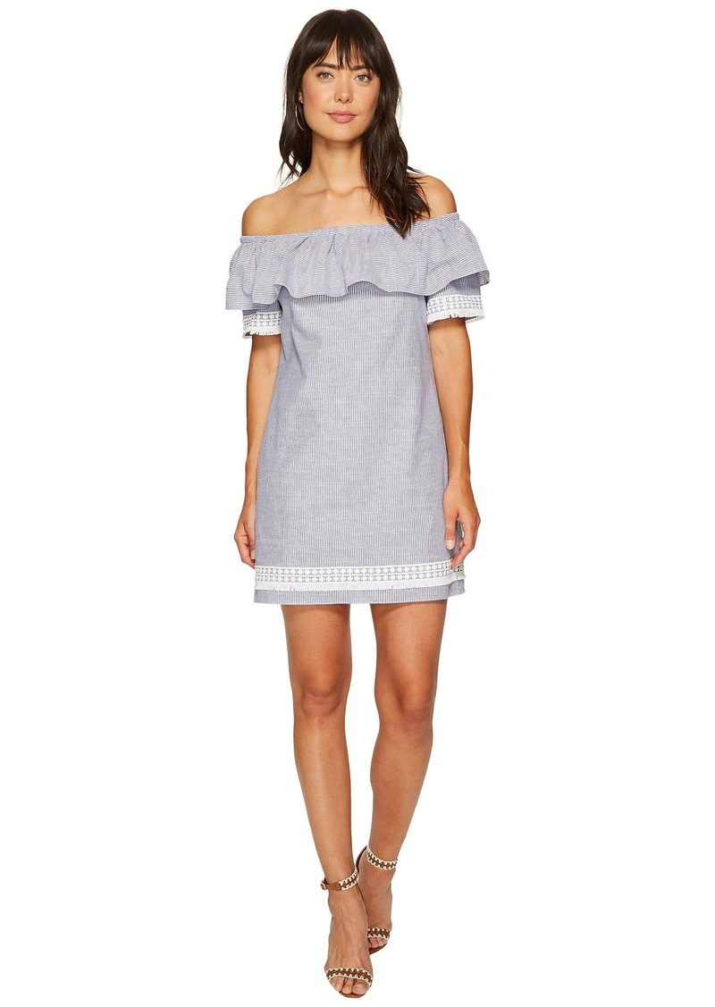 Tahari Chambray Stripe Shift Dress