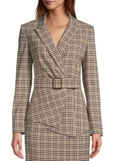 Tahari Check Belted Asymmetrical Hem Jacket