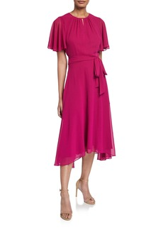 Tahari Chiffon Flutter-Sleeve High-Low Midi Dress