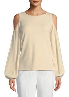 Tahari Christopher Cold-Shoulder Blouson-Sleeve Sweater